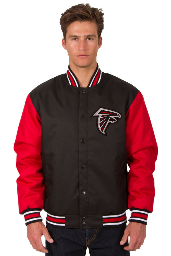 Atlanta Falcons Poly Twill Varsity Jacket - Black/Red - JH Design