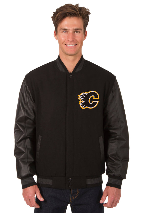 Calgary Flames Wool & Leather Reversible Jacket w/ Embroidered Logos - Black
