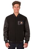 Philadelphia Flyers Wool & Leather Reversible Jacket w/ Embroidered Logos - Black - J.H. Sports Jackets