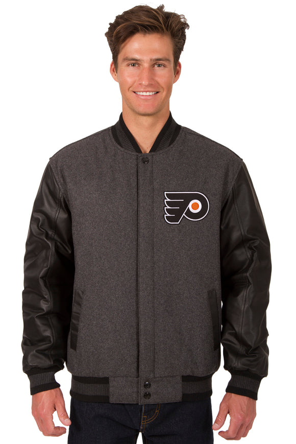 Philadelphia Flyers Wool & Leather Reversible Jacket w/ Embroidered Logos - Charcoal/Black