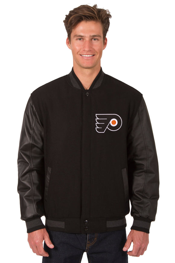 Philadelphia Flyers Wool & Leather Reversible Jacket w/ Embroidered Logos - Black