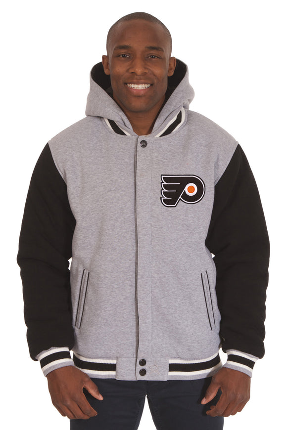 Philadelphia Flyers Two-Tone Reversible Fleece Hooded Jacket - Gray/Black