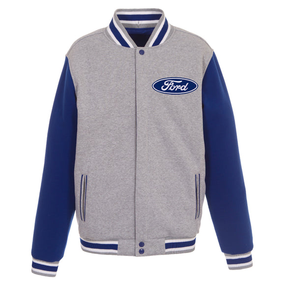 Ford Two-Tone Reversible Fleece Jacket - Gray/Royal - JH Design