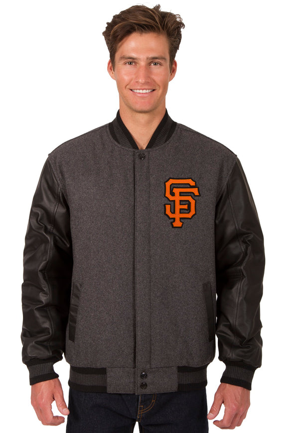 San Francisco Giants Wool & Leather Reversible Jacket w/ Embroidered Logos - Charcoal/Black