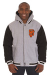 San Francisco Giants Two-Tone Reversible Fleece Hooded Jacket - Gray/Black