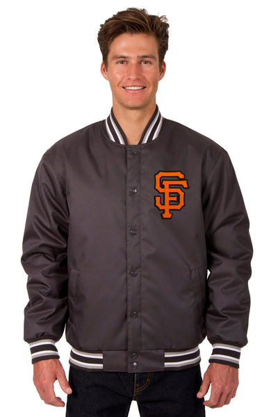 San Francisco Giants Poly Twill Varsity Jacket - Charcoal
