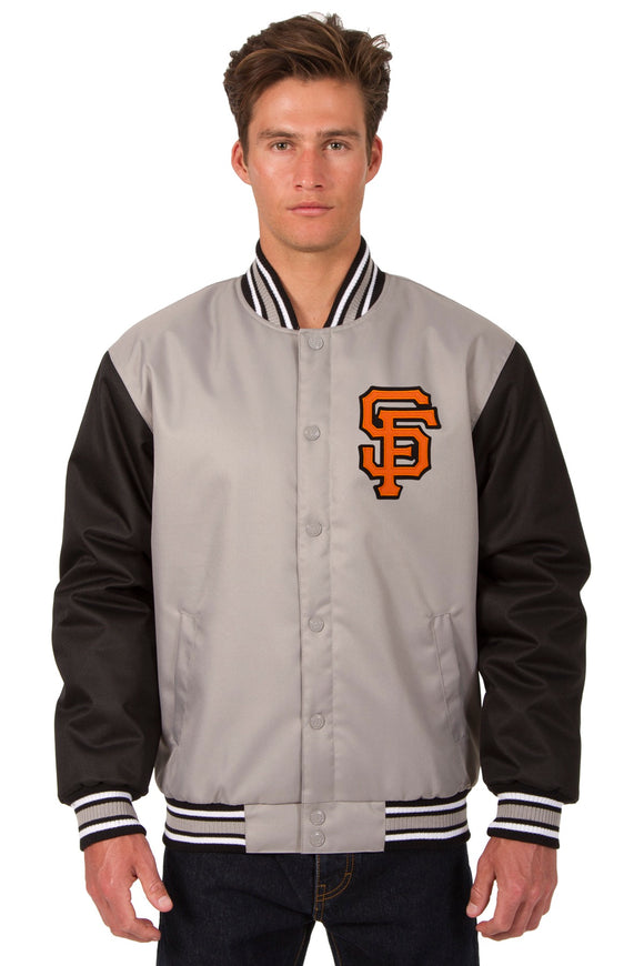 San Francisco Giants Poly Twill Varsity Jacket - Gray/Black - JH Design