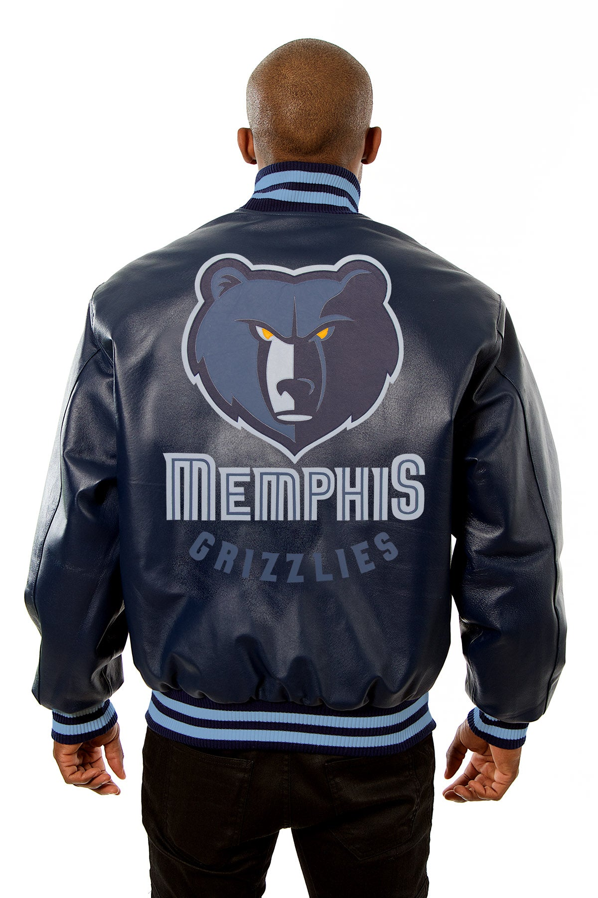 buy popular d8cb1 9dfda ... Memphis Grizzlies Full Leather Jacket - Navy ...