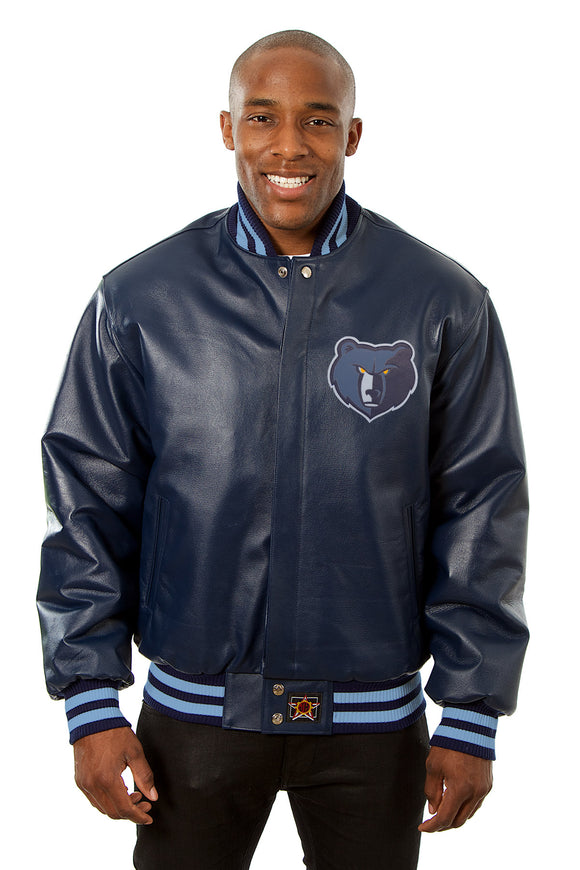 Memphis Grizzlies Full Leather Jacket - Navy - JH Design