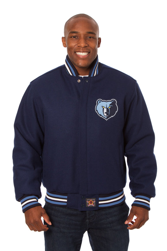 Memphis Grizzlies Embroidered Wool Jacket - Navy - JH Design