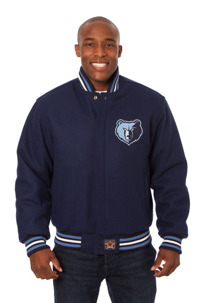 Memphis Grizzlies Embroidered Wool Jacket - Navy