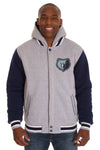 Memphis Grizzlies Two-Tone Reversible Fleece Hooded Jacket - Gray/Navy