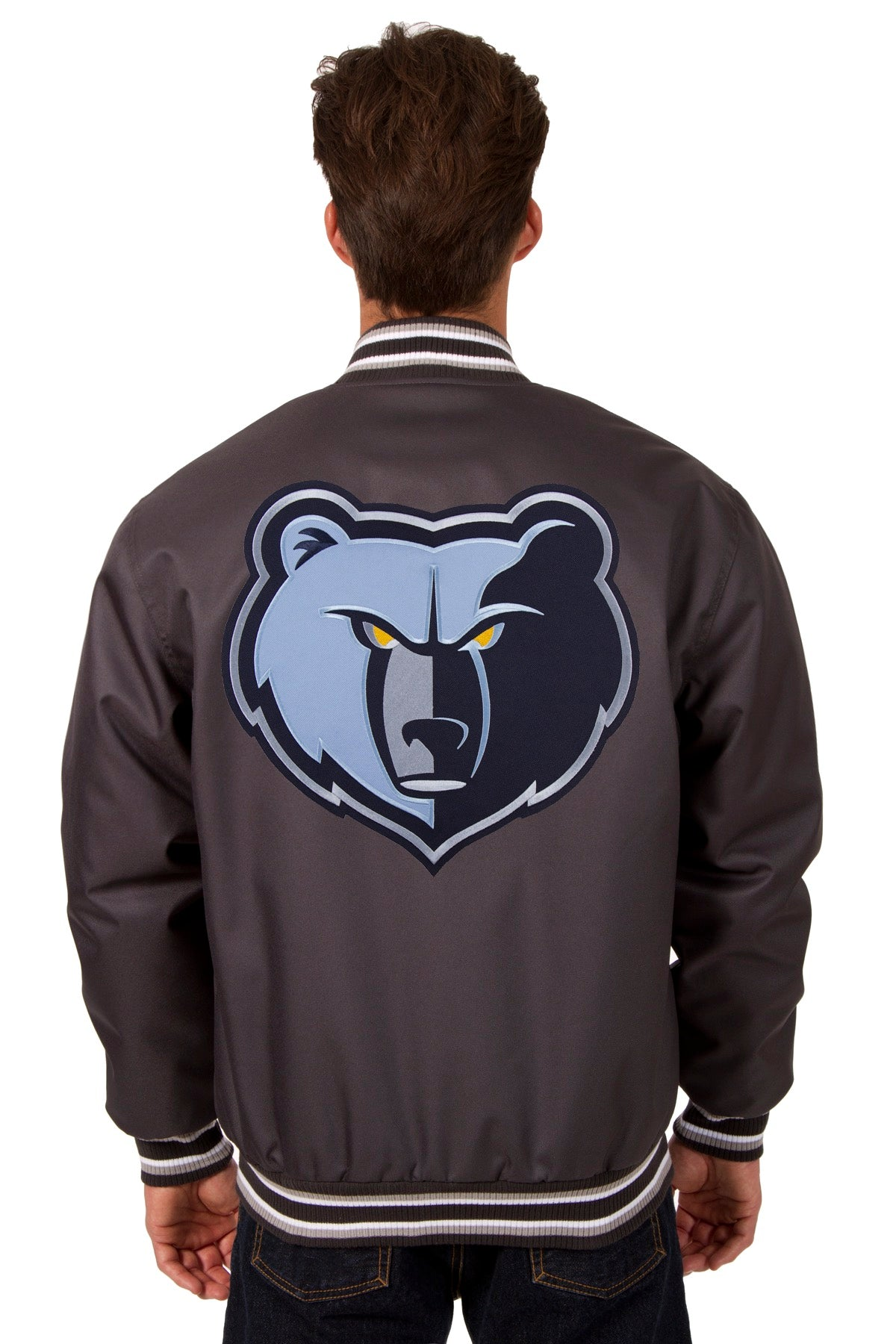 new product 7ead7 15f0b ... Memphis Grizzlies Poly Twill Varsity Jacket - Charcoal ...