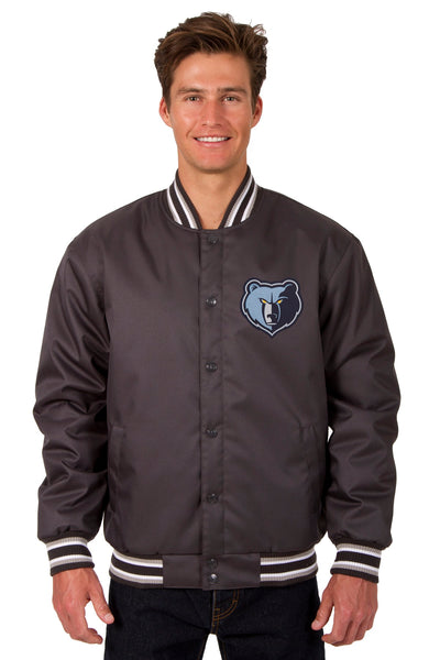 Memphis Grizzlies Poly Twill Varsity Jacket - Charcoal