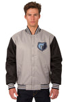 Memphis Grizzlies Poly Twill Varsity Jacket - Gray/Black