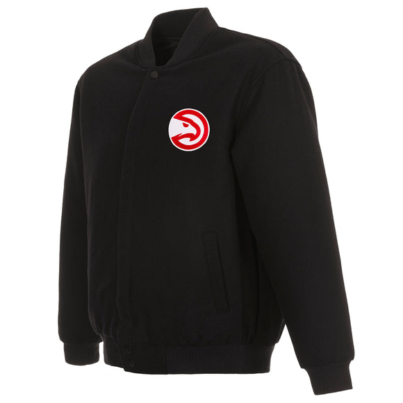 Atlanta Hawks Reversible Wool Jacket - Black - JH Design