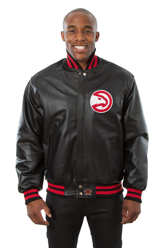 Atlanta Hawks Full Leather Jacket - Black - JH Design