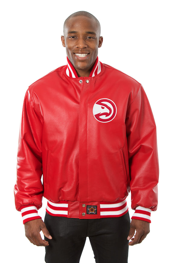Atlanta Hawks Full Leather Jacket - Red - JH Design