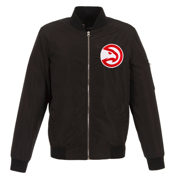 Atlanta Hawks JH Design Lightweight Nylon Bomber Jacket – Black - JH Design