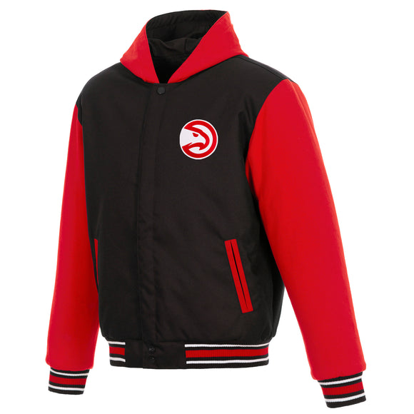 Atlanta Hawks Two-Tone Reversible Fleece Hooded Jacket - Black/Red - JH Design