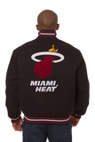 Miami Heat Embroidered Wool Jacket - Black - JH Design