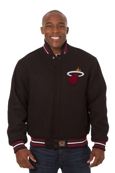 Miami Heat Embroidered Wool Jacket - Black