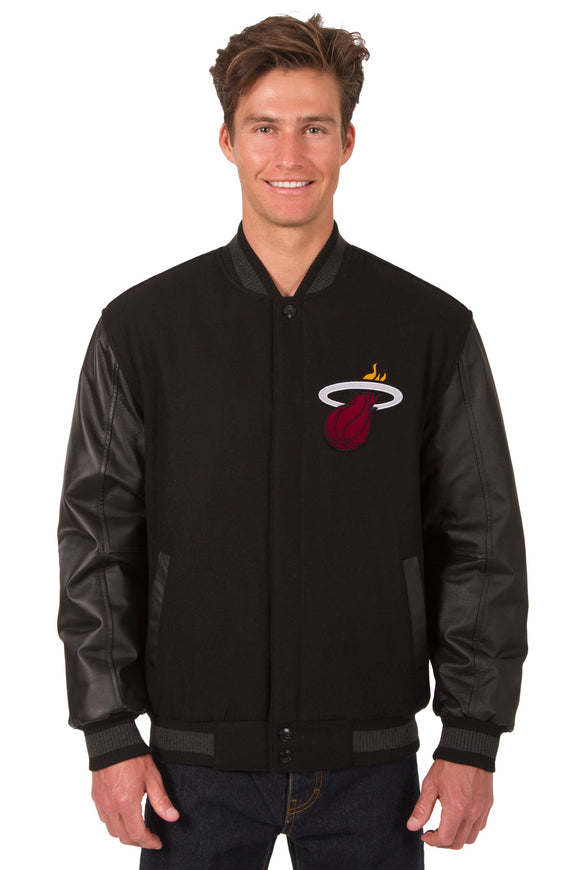Miami Heat Wool & Leather Reversible Jacket w/ Embroidered Logos - Black - JH Design
