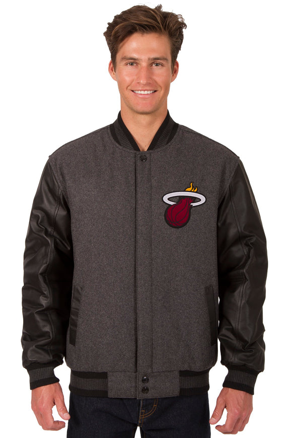 Miami Heat Wool & Leather Reversible Jacket w/ Embroidered Logos - Charcoal/Black