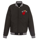 Miami Heat - JH Design Reversible Fleece Jacket with Faux Leather Sleeves - Black/White - JH Design