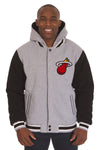 Miami Heat Two-Tone Reversible Fleece Hooded Jacket - Gray/Black