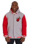 Miami Heat Two-Tone Reversible Fleece Hooded Jacket - Gray/Red