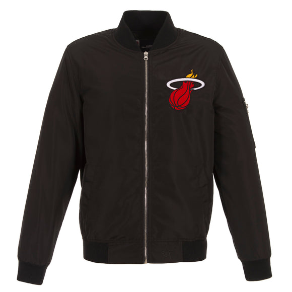 Miami Heat JH Design Lightweight Nylon Bomber Jacket – Black - JH Design