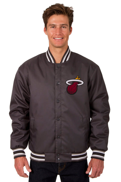 Miami Heat Poly Twill Varsity Jacket - Charcoal