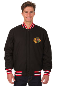 Chicago Blackhawks Reversible Wool Jacket - Black/Red