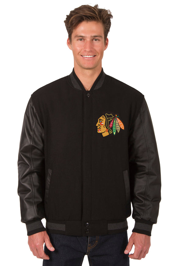 Chicago Blackhawks Wool & Leather Reversible Jacket w/ Embroidered Logos - Black