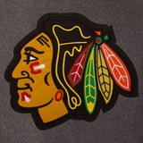 Chicago Blackhawks Wool & Leather Reversible Jacket w/ Embroidered Logos - Charcoal/Black