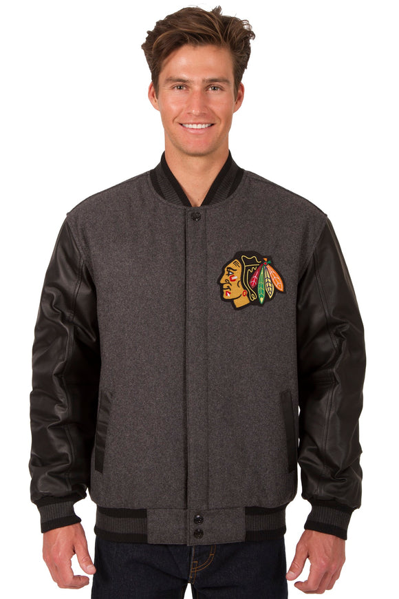 Chicago Blackhawks Wool & Leather Reversible Jacket w/ Embroidered Logos - Charcoal/Black - JH Design