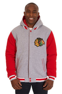 Chicago Blackhawks Two-Tone Reversible Fleece Hooded Jacket - Gray/Red