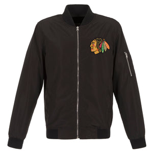 Chicago Blackhawks JH Design Lightweight Nylon Bomber Jacket – Black