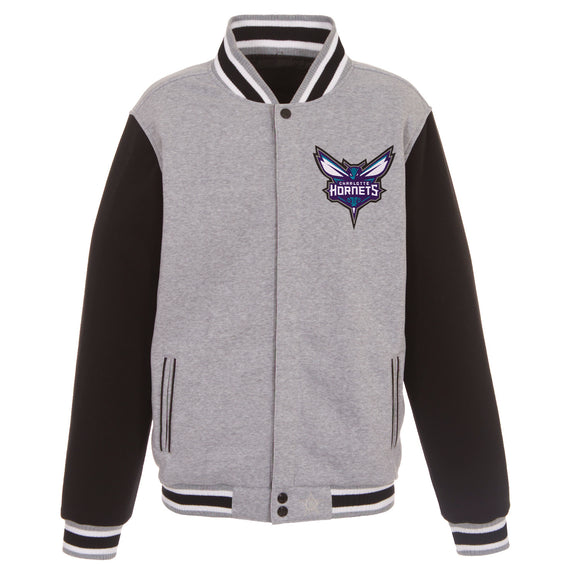 Charlotte Hornets Two-Tone Reversible Fleece Jacket - Gray/Black - JH Design