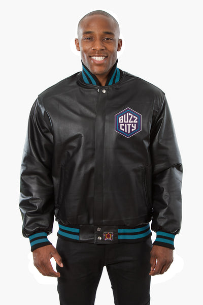 Charlotte Hornets Full Leather Jacket - Black