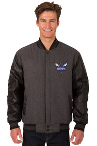 Charlotte Hornets Wool & Leather Reversible Jacket w/ Embroidered Logos - Charcoal/Black - JH Design
