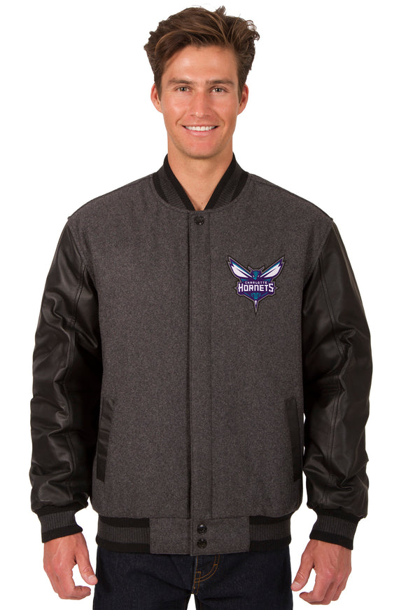 Charlotte Hornets Wool & Leather Reversible Jacket w/ Embroidered Logos - Charcoal/Black - J.H. Sports Jackets