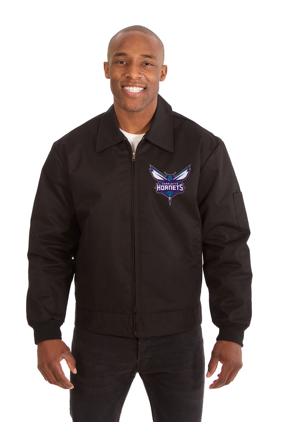 Charlotte Hornets Cotton Twill Workwear Jacket - Black - JH Design