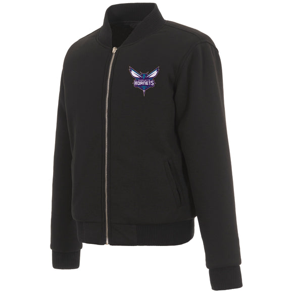 Charlotte Hornets JH Design Reversible Women Fleece Jacket - Black - JH Design