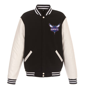 Charlotte Hornets - JH Design Reversible Fleece Jacket with Faux Leather Sleeves - Black/White - JH Design