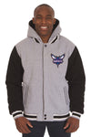 Charlotte Hornets Two-Tone Reversible Fleece Hooded Jacket - Gray/Black