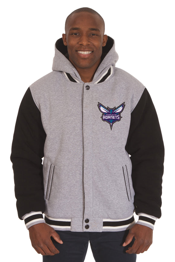 Charlotte Hornets Two-Tone Reversible Fleece Hooded Jacket - Gray/Black - J.H. Sports Jackets