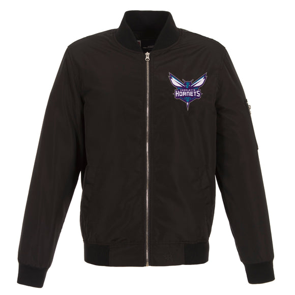 Charlotte Hornets JH Design Lightweight Nylon Bomber Jacket – Black - JH Design
