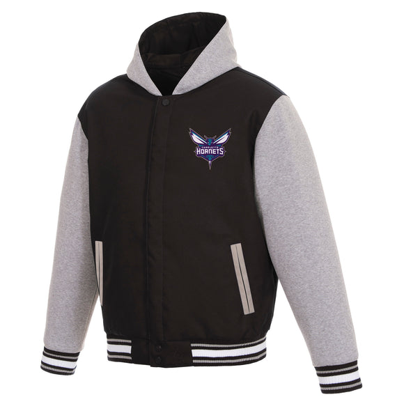 Charlotte Hornets Two-Tone Reversible Fleece Hooded Jacket - Black/Grey - JH Design